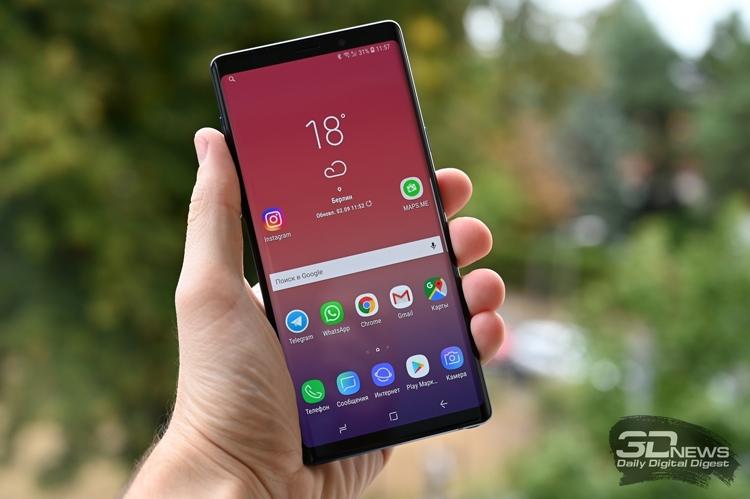 Российский рейтинг лучших смартфонов 2018 года возглавил фаблет Galaxy Note 9