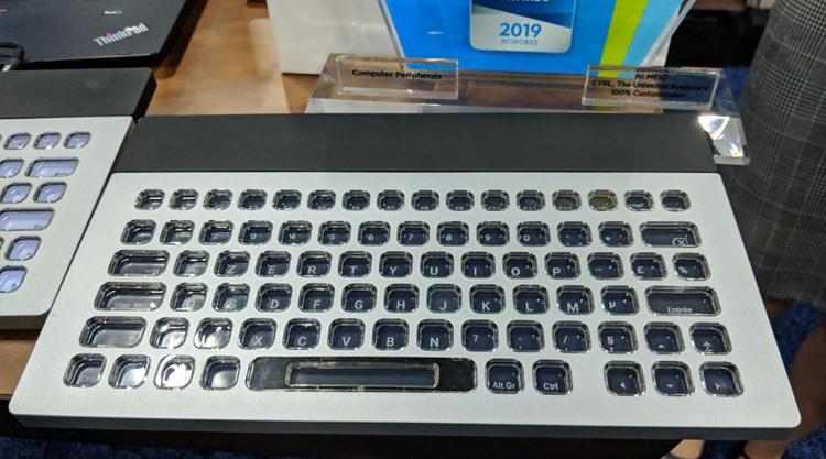 ces 2019 клавиатура nemeio кнопками-дисплеями электронной бумаге