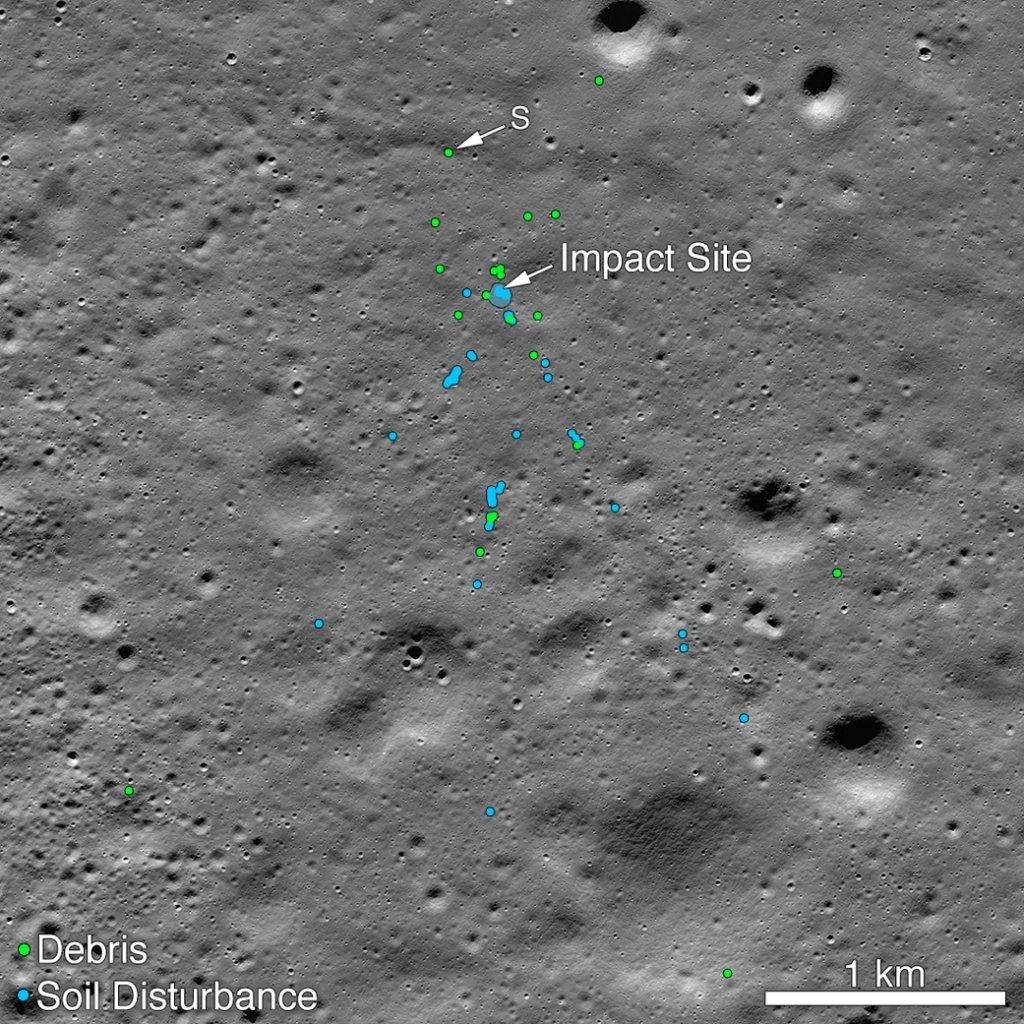 Спутник NASA обнаружил на Луне обломки индийского посадочного модуля Vikram