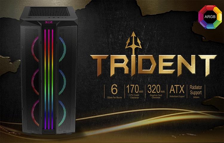 Фронтальную панель ПК-корпуса Xigmatek Trident пересекают три RGB-полосы