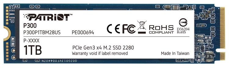 Patriot P300: накопители M.2 PCIe Gen3 x4 NVMe SSD вместимостью до 2 Тбайт