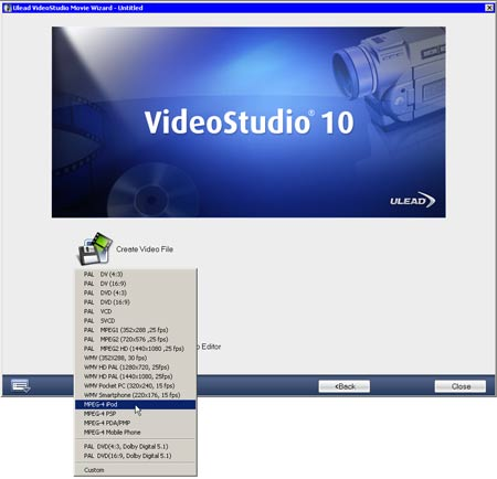 Ulead Video Studio 10 настройки экспорта видео